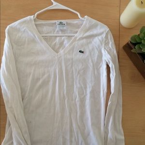 Lacoste White V-neck Jersey Sweater